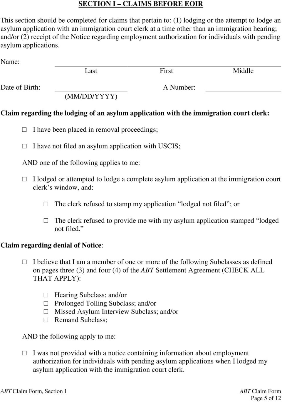 ABT Claim Form This claim form is for individual ABT - PDF