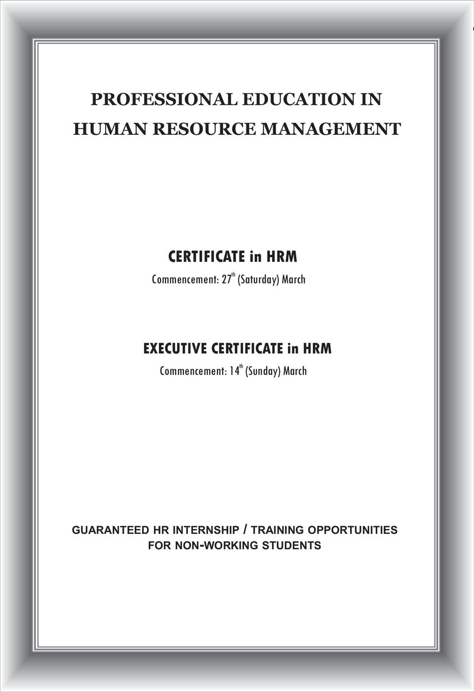 Professional Education In Human Resource Management Certificate In