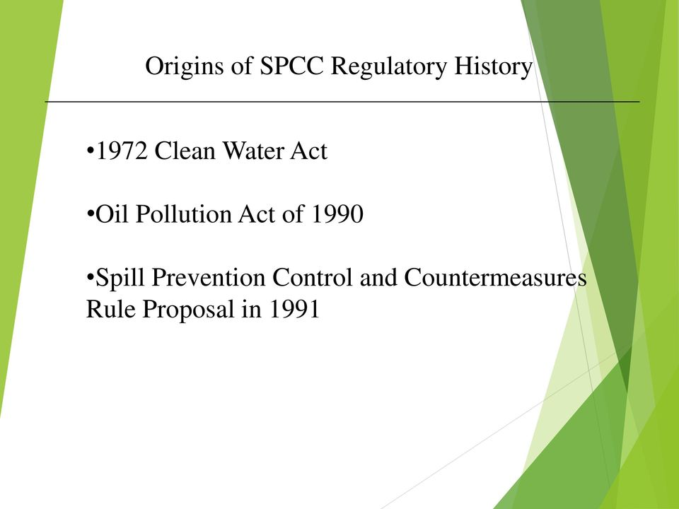 Act of 1990 Spill Prevention Control