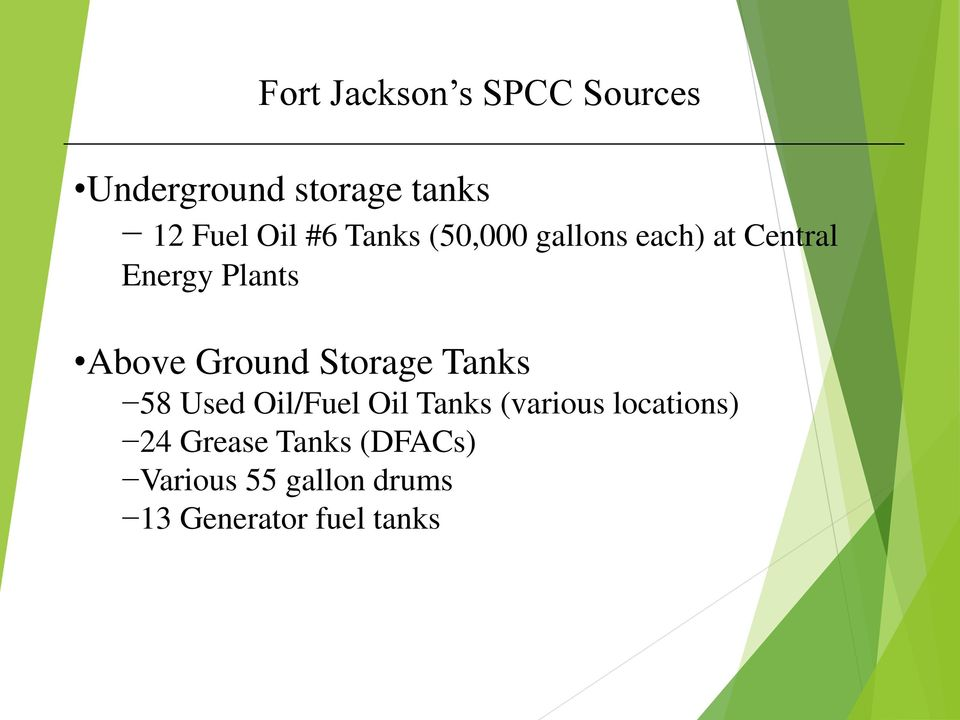 Ground Storage Tanks 58 Used Oil/Fuel Oil Tanks (various