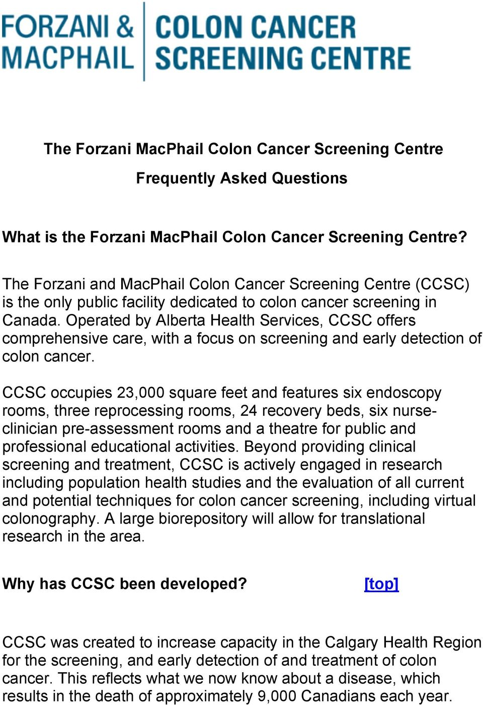 The Forzani Macphail Colon Cancer Screening Centre Frequently Asked Questions What Is The Forzani Macphail Colon Cancer Screening Centre Pdf Free Download