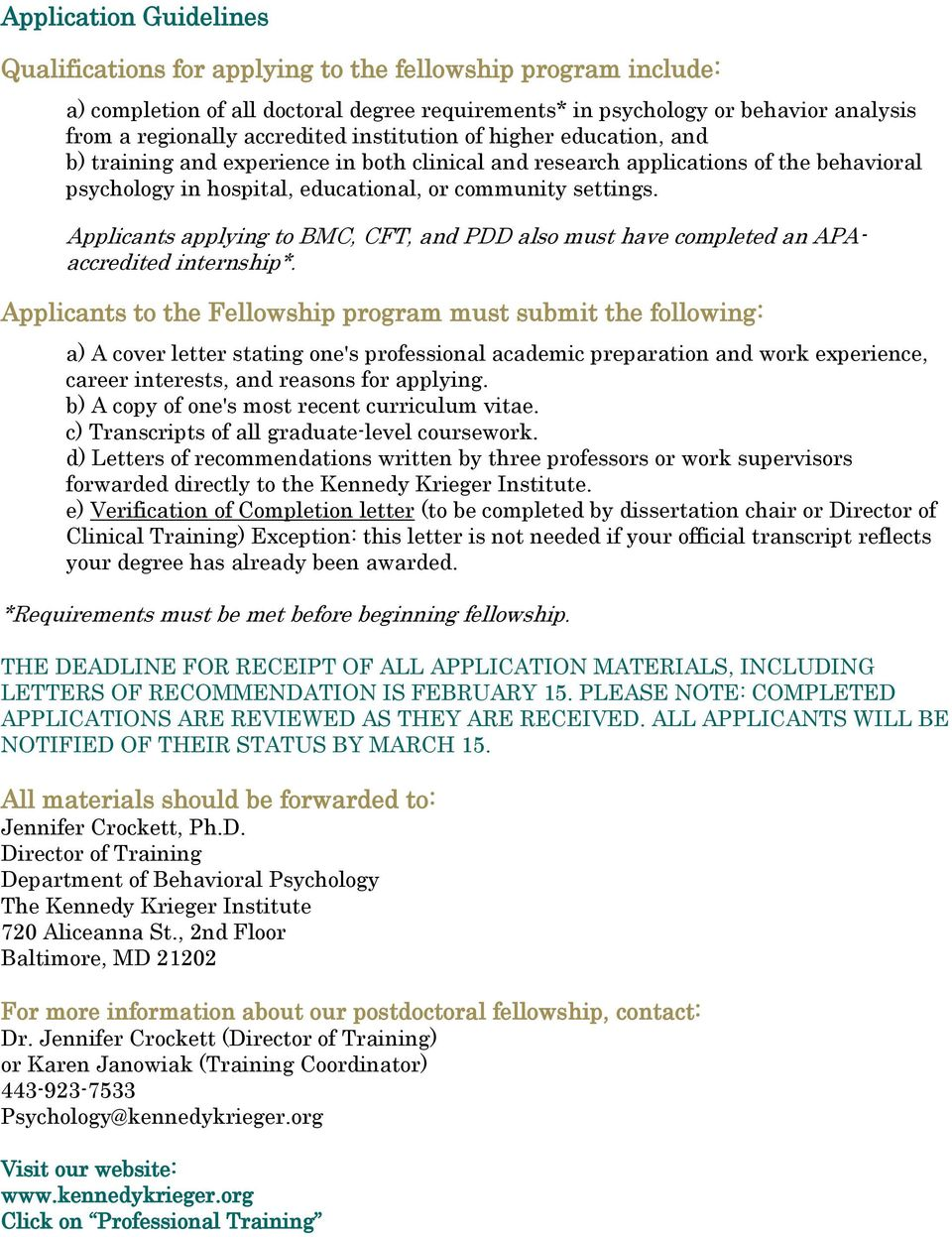 FELLOWSHIP IN PROFESSIONAL POSTDOCTORAL PSYCHOLOGY KENNEDY KRIEGER