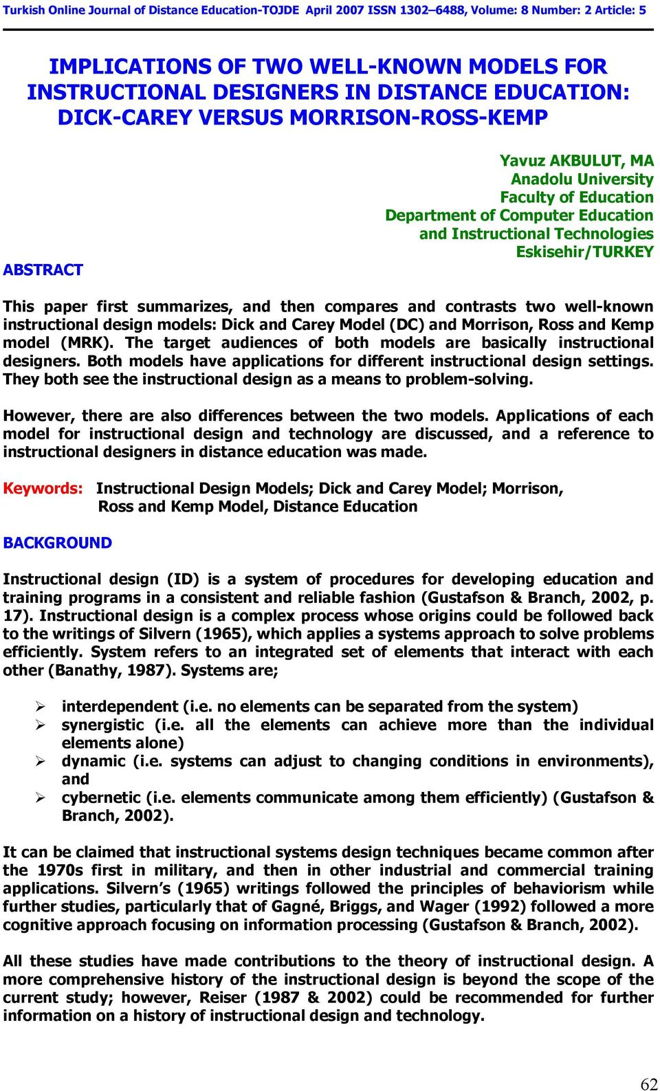 Implications Of Two Well Known Models For Instructional Designers In Distance Education Dick Carey Versus Morrison Ross Kemp Pdf Free Download