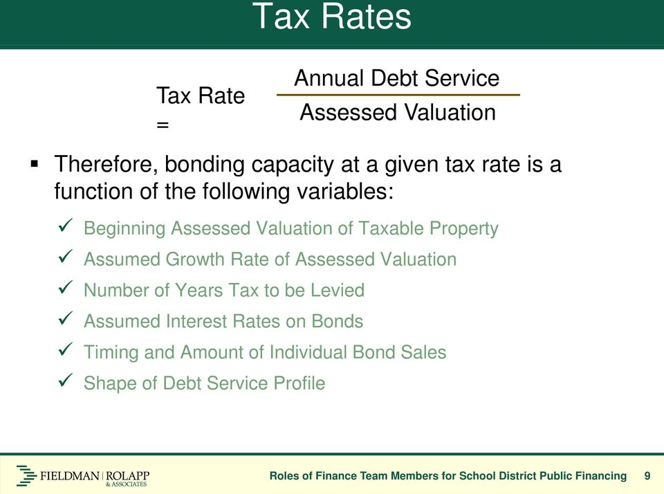 Assessed Valuation Number of Years Tax to be Levied Assumed Interest Rates on Bonds Timing and Amount of