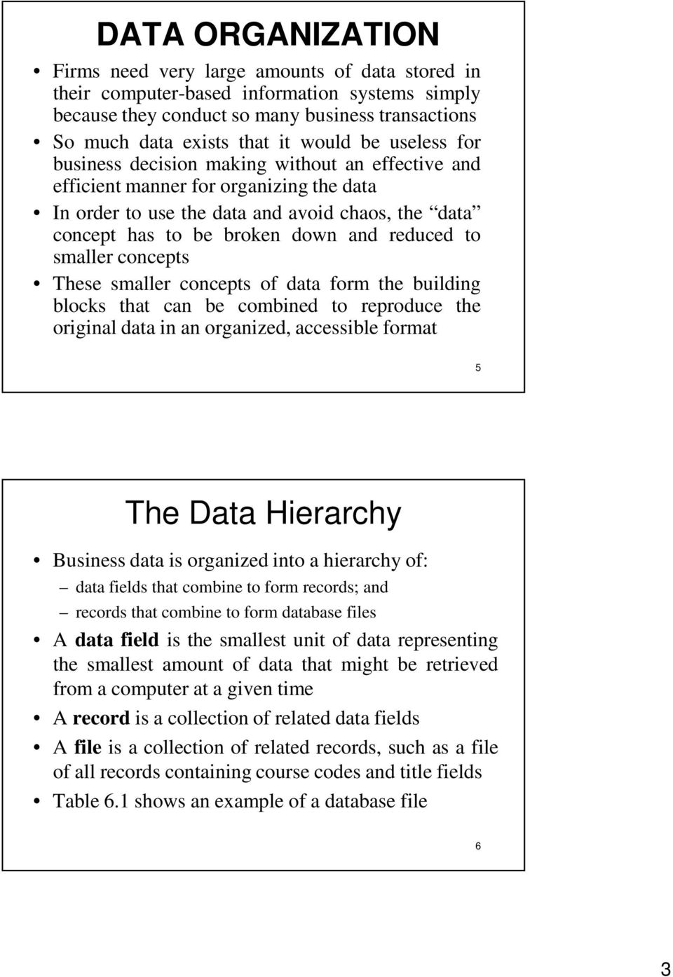 to smaller concepts These smaller concepts of data form the building blocks that can be combined to reproduce the original data in an organized, accessible format 5 The Data Hierarchy Business data