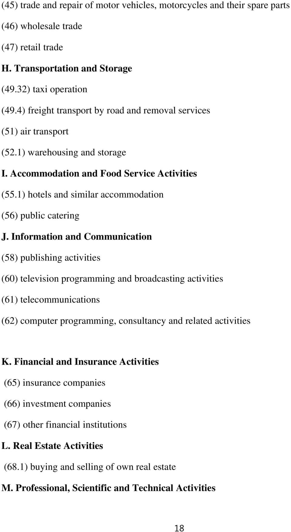 1) hotels and similar accommodation (56) public catering J.