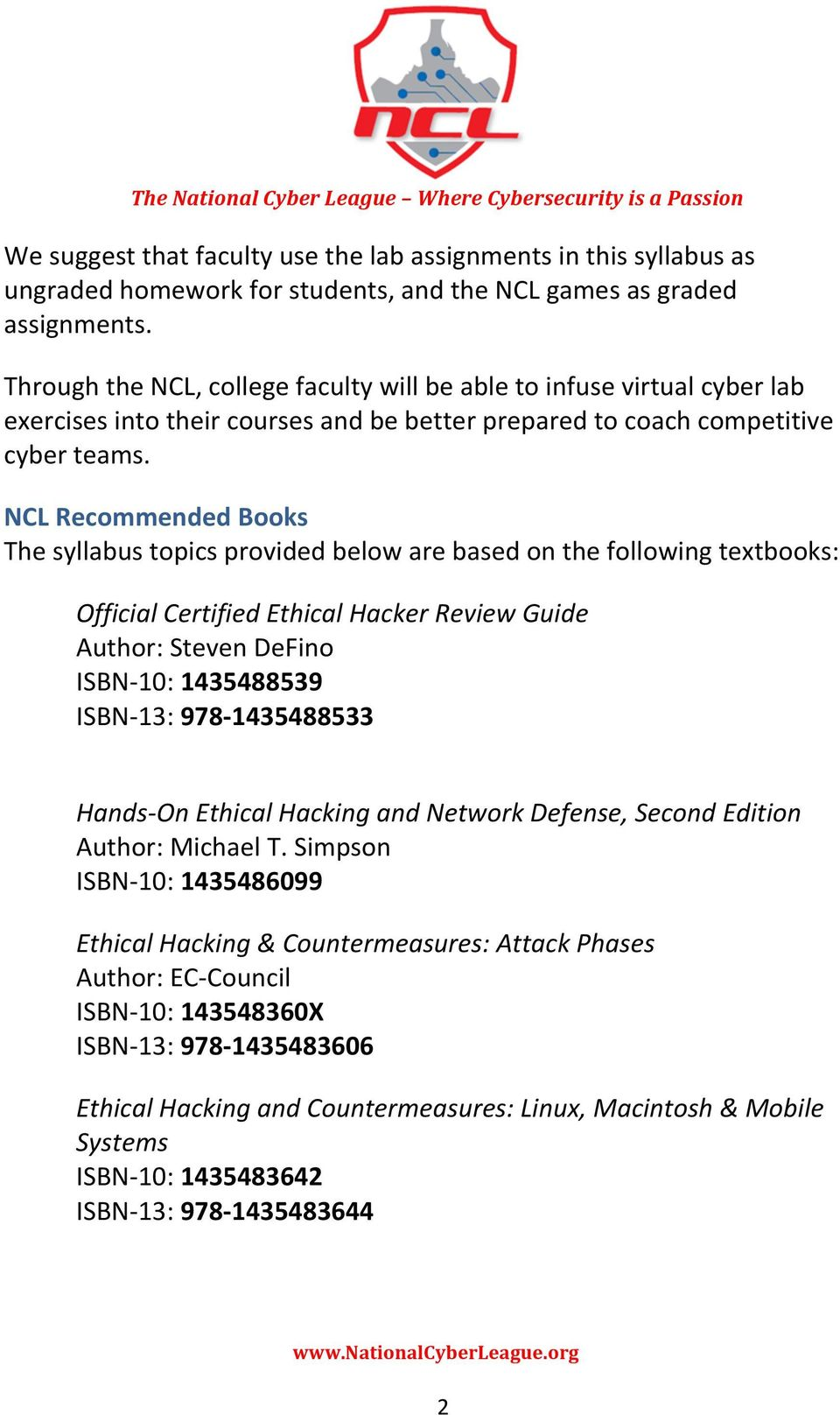 National Cyber League Certified Ethical Hacker (CEH) TM