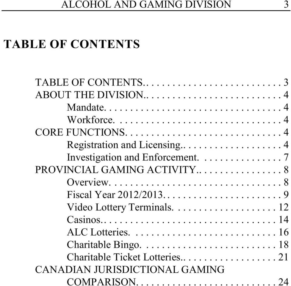 ............... 7 PROVINCIAL GAMING ACTIVITY................. 8 Overview...8 Fiscal Year 2012/2013...9 Video Lottery Terminals.