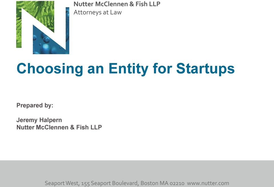 Entity for Startups Prepared by: