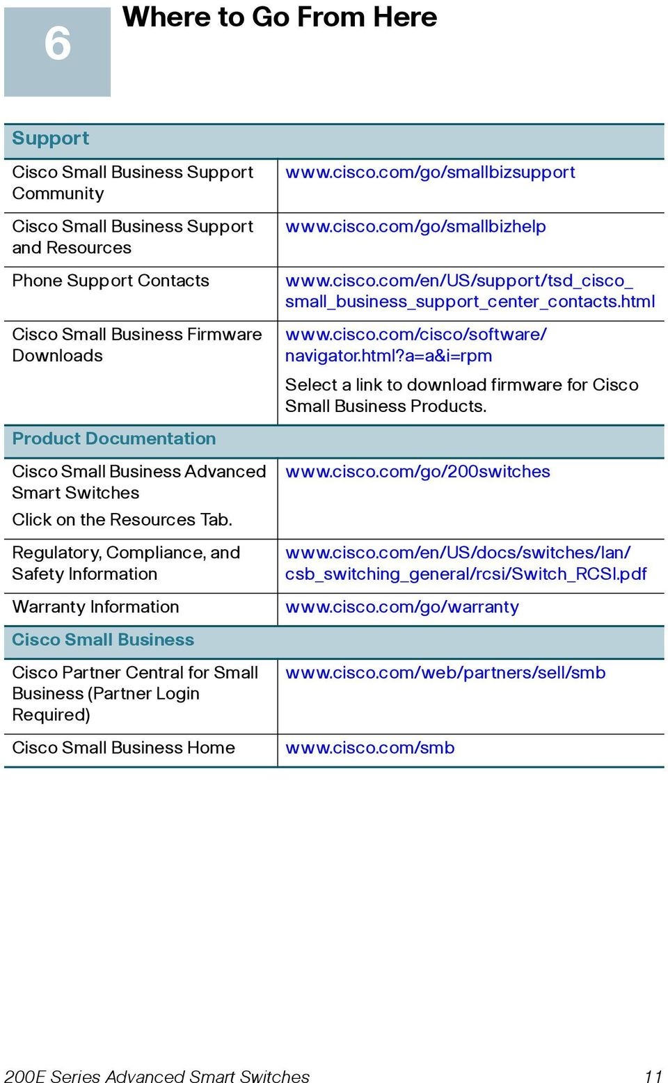Regulatory, Compliance, and Safety Information Warranty Information Cisco Small Business Cisco Partner Central for Small Business (Partner Login Required) Cisco Small Business Home www.cisco.