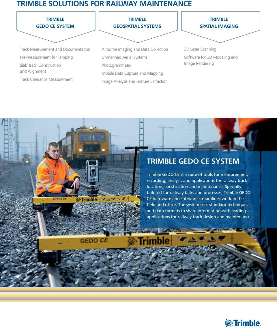 TRIMBLE RAILWAY SOLUTIONS INNOVATION TO DELIVER SAFETY, ACCURACY AND