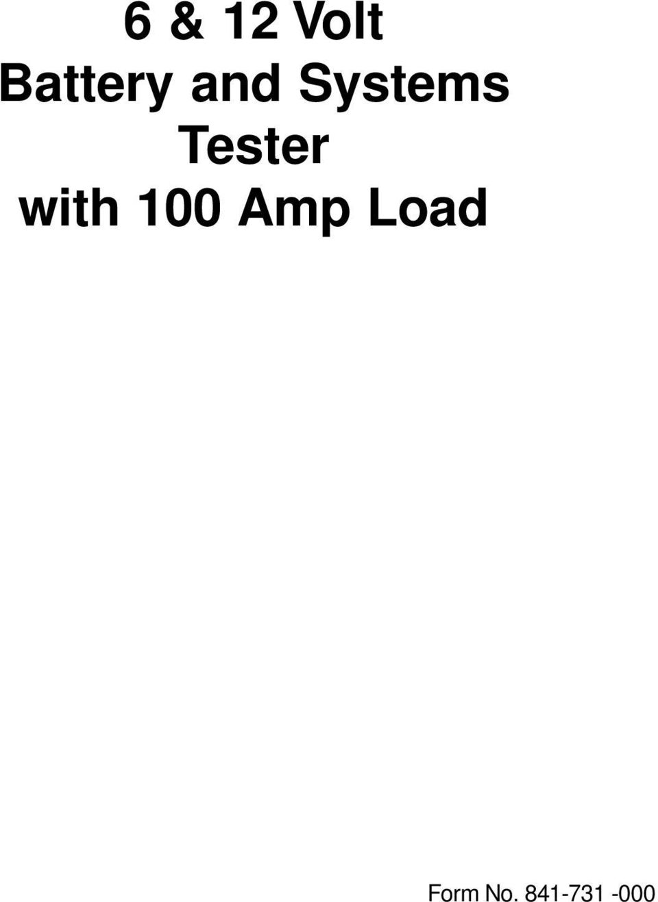 with 100 Amp Load