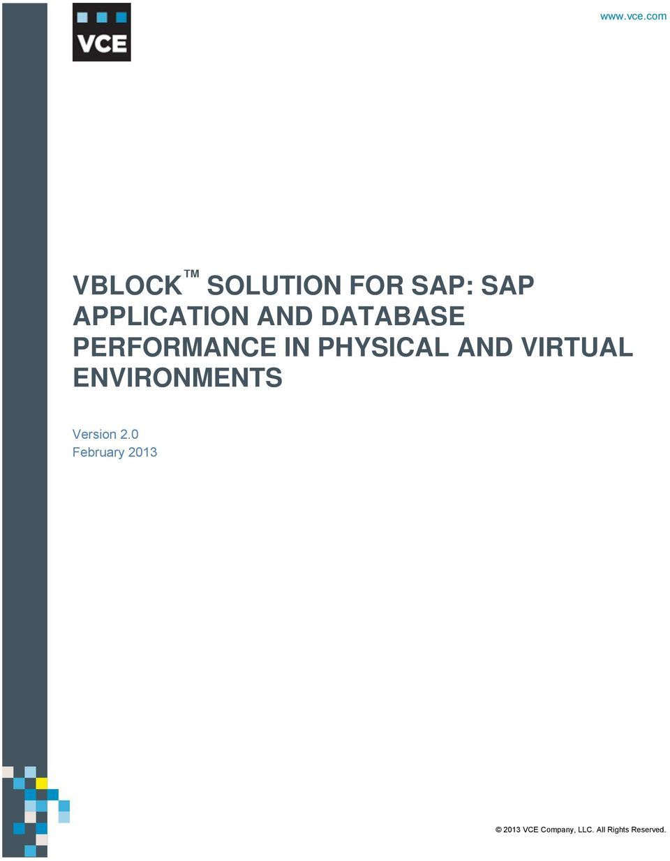 com V VBLOCK SOLUTION FOR SAP: SAP APPLICATION AND DATABASE