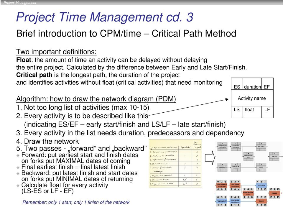 Critical path is the longest path, the duration of the project and identifies activities without float (critical activities) that need monitoring Algorithm: how to draw the network diagram (PDM) 1.