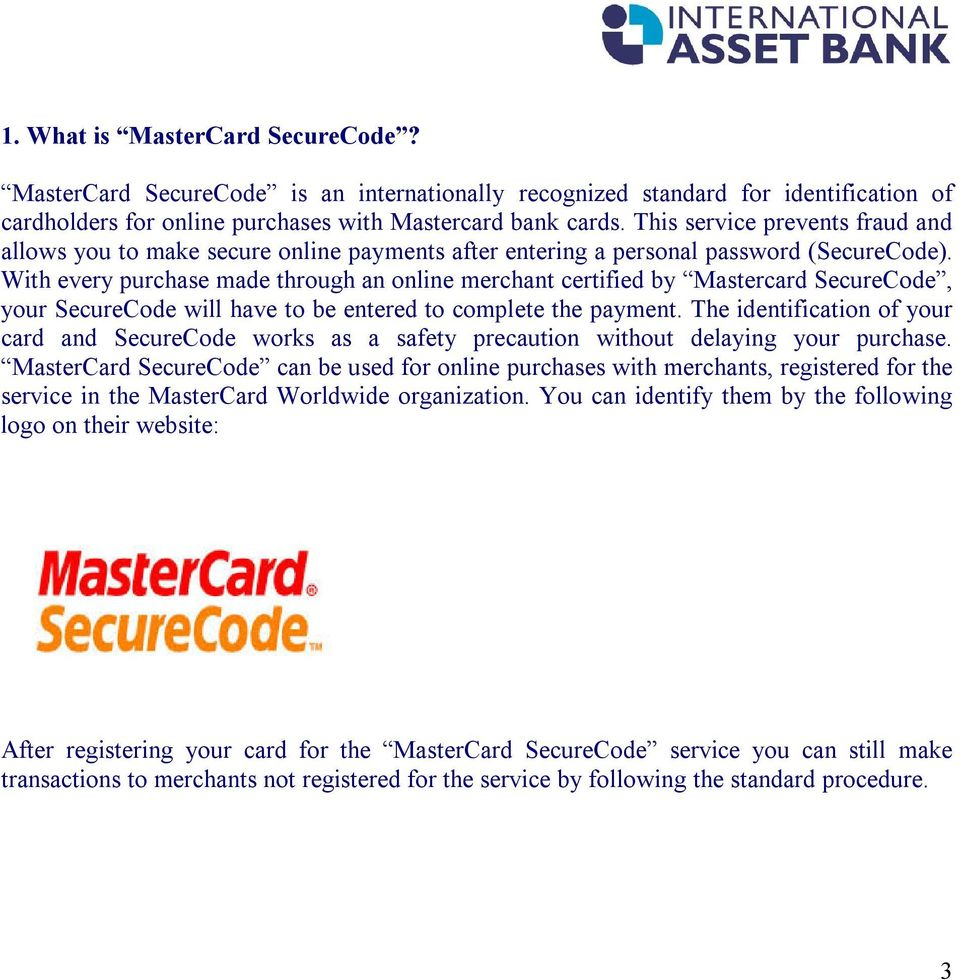 INSTRUCTIONS FOR REGISTRATION AND USE OF MASTERCARD
