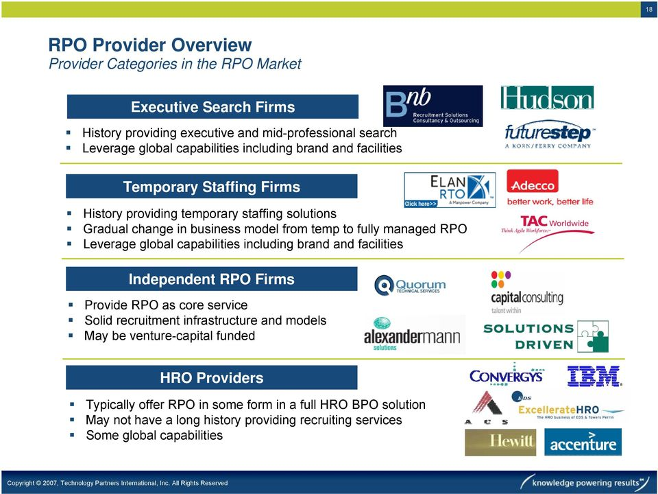 managed RPO Leverage global capabilities including brand and facilities Independent RPO Firms Provide RPO as core service Solid recruitment infrastructure and models May