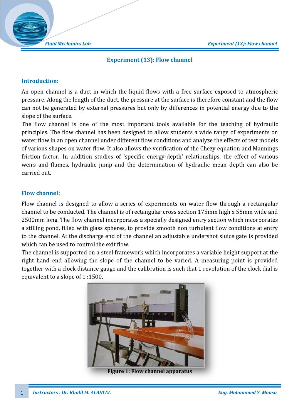 experiment 13 flow channel pdf rh docplayer net Parshall Flume Hydraulics V-notch Weir Flow Rate