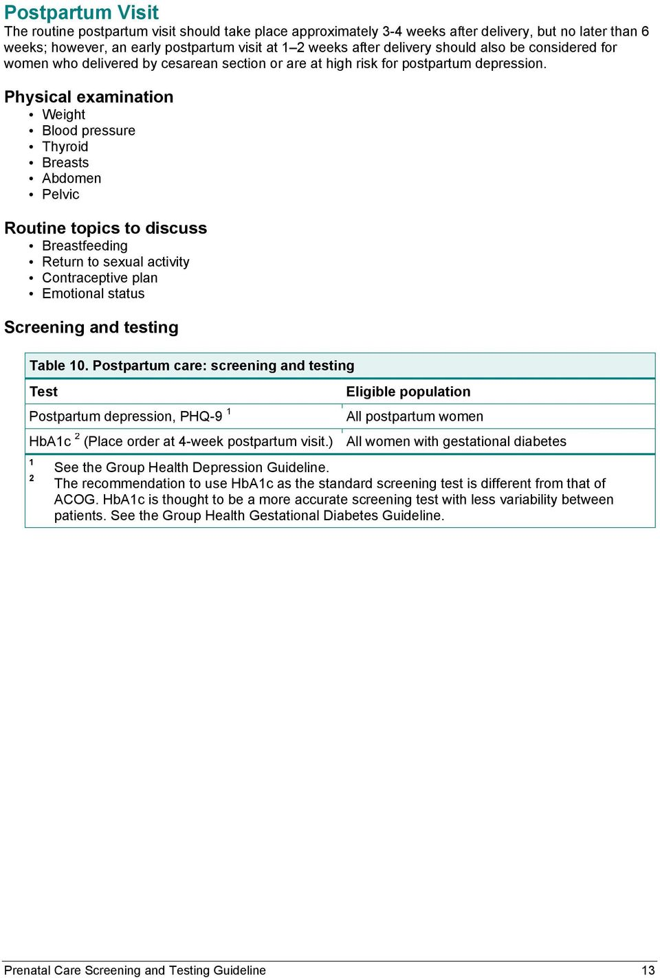 Prenatal Care Screening and Testing Guideline - PDF