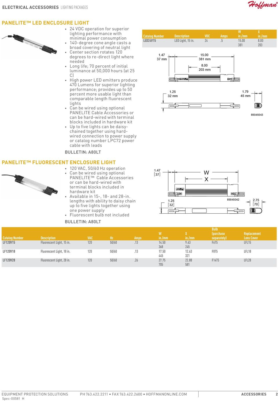 to 50 percent more usable light than comparable length fluorescent lights Can be wired using optional PANELITE Cable or can be hard-wired with terminal blocks included in hardware kit Up to five