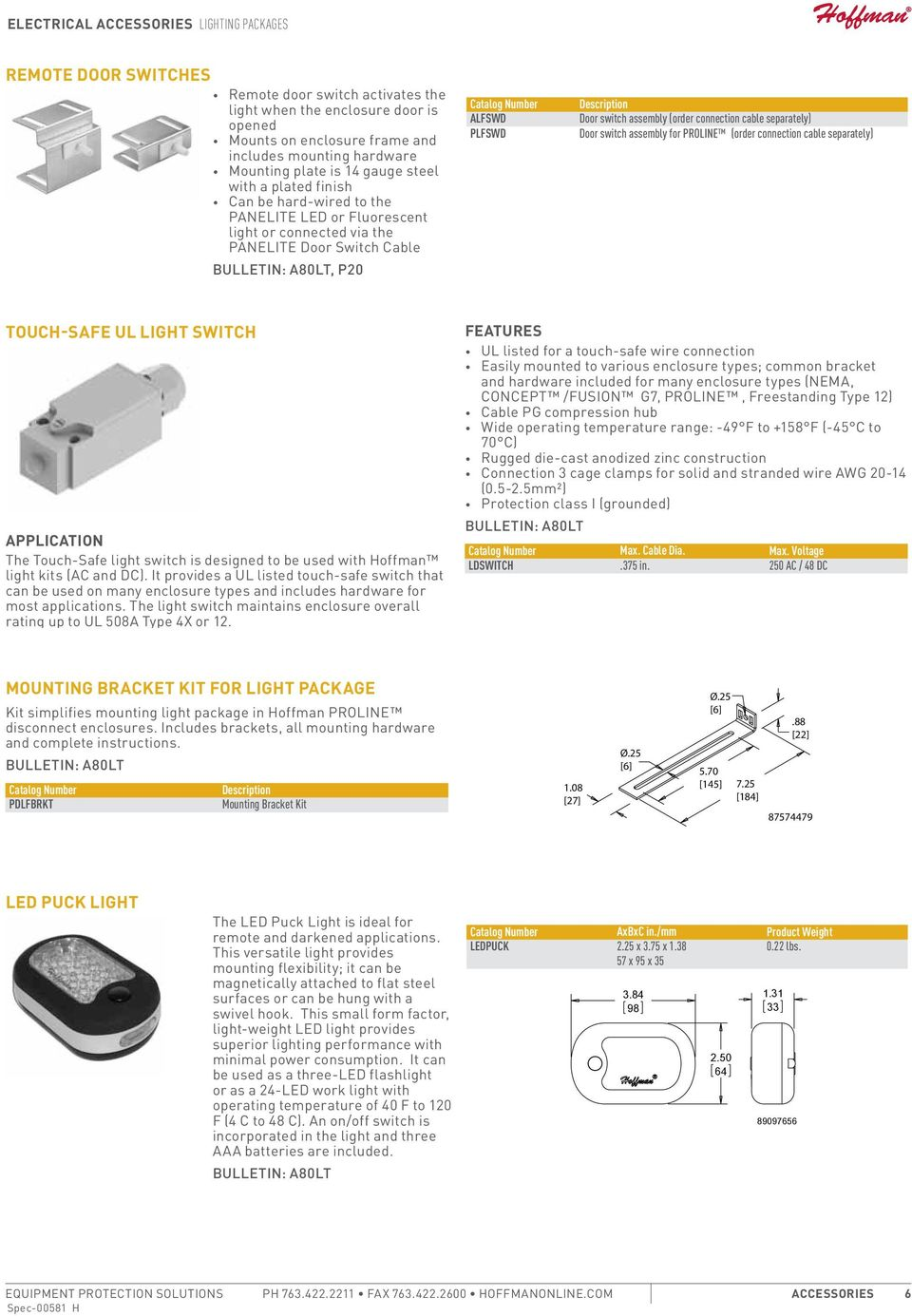 separately) Door switch assembly for PROLINE (order connection cable separately) Touch-Safe UL Light Switch APPLICATION The Touch-Safe light switch is designed to be used with Hoffman light kits (AC