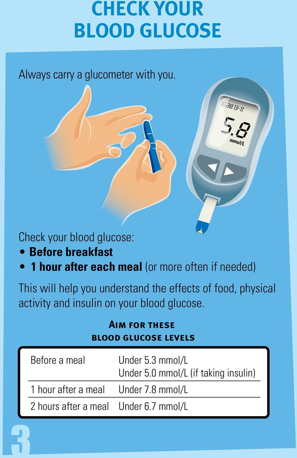 help you understand the effects of food, physical activity and insulin on your blood glucose.