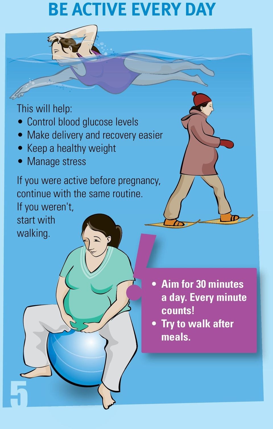 before pregnancy, continue with the same routine.