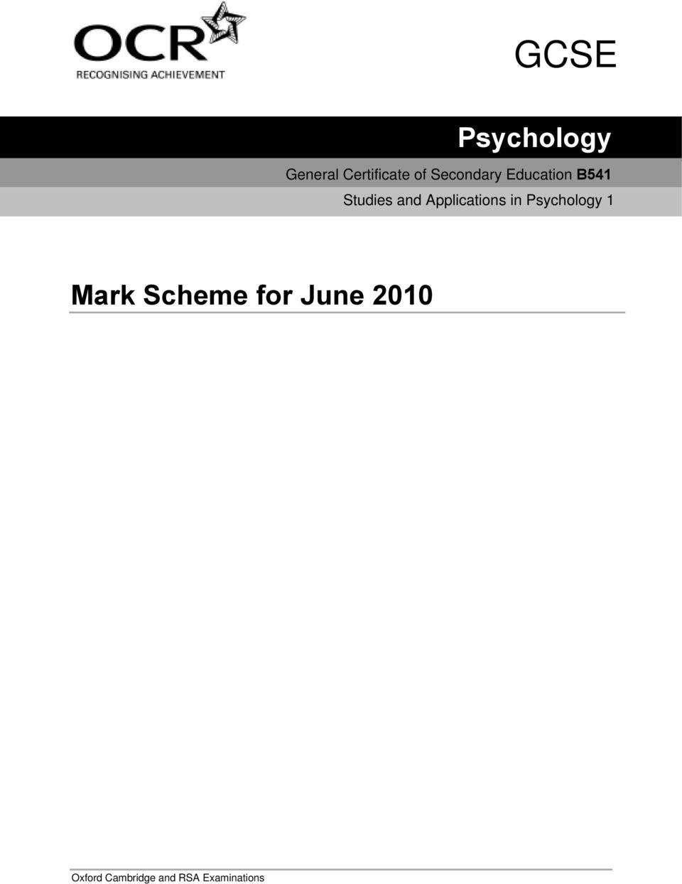 Aqa psychology paper 2010 analysis of the research paper