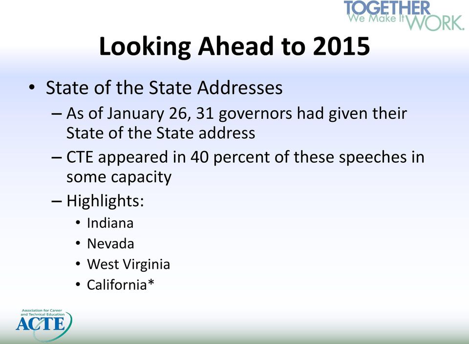 address CTE appeared in 40 percent of these speeches in