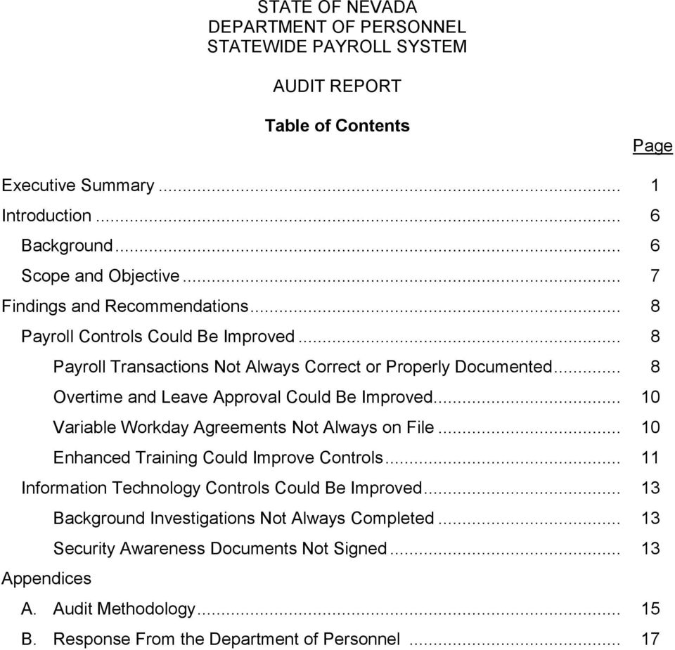 STATE OF NEVADA DEPARTMENT OF PERSONNEL STATEWIDE PAYROLL SYSTEM