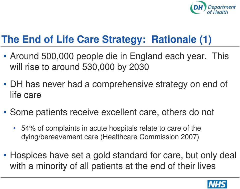 receive excellent care, others do not 54% of complaints in acute hospitals relate to care of the dying/bereavement