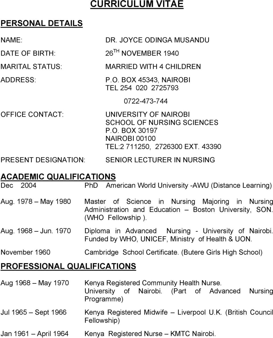Curriculum Vitae School Of Nursing Sciences P O Box Nairobi Tel
