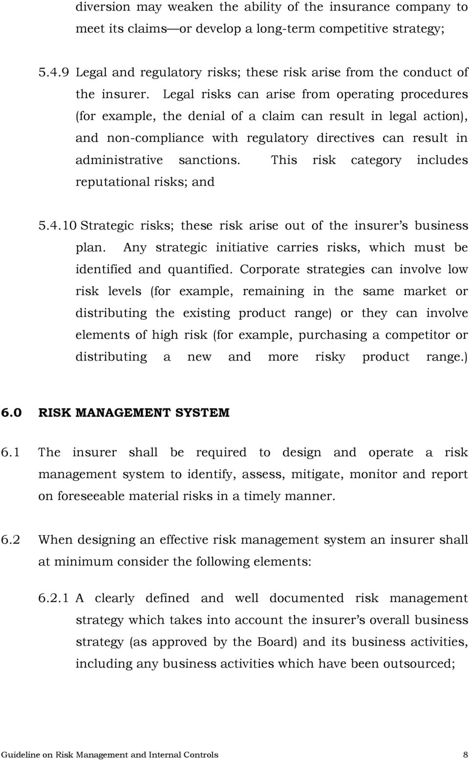 GUIDELINES ON RISK MANAGEMENT AND INTERNAL CONTROLS FOR