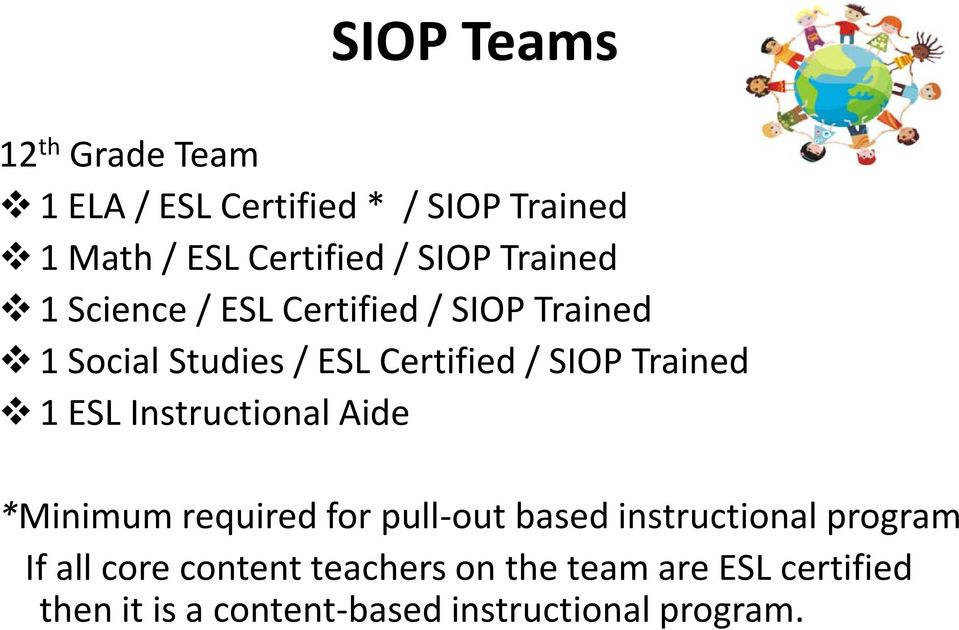 1 ESL Instructional Aide *Minimum required for pull-out based instructional program If all core