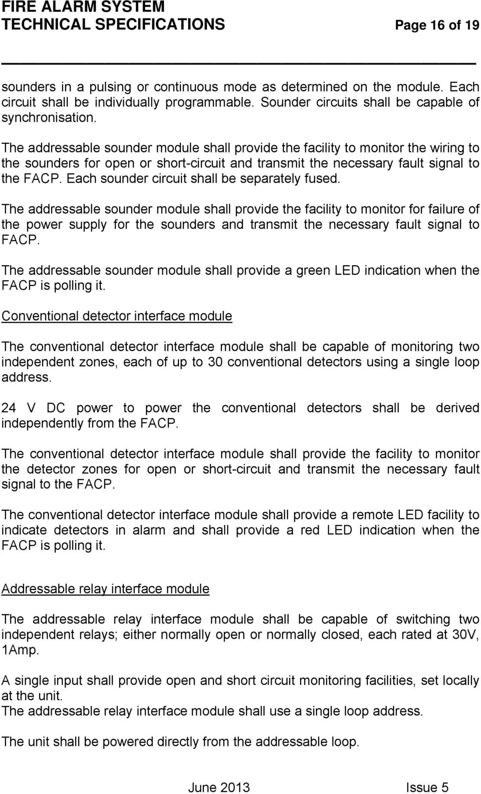 Fire Alarm System Technical Specifications Page 1 Of 19 Pdf Intelligent Schematic Diagram The Addressable Sounder Module Shall Provide Facility To Monitor Wiring Sounders For