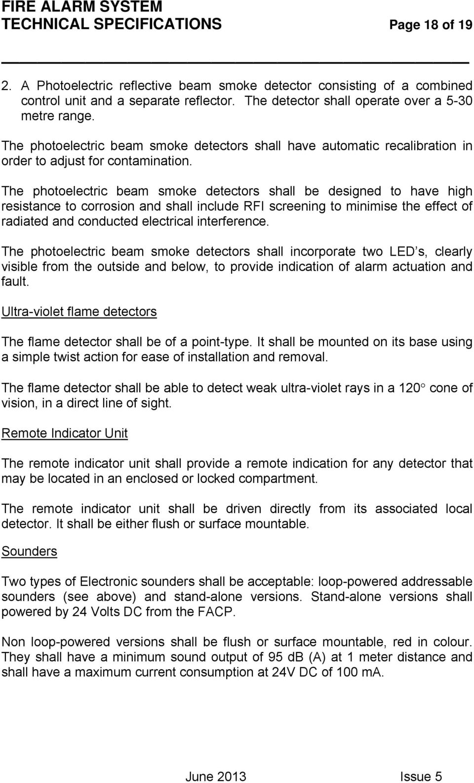 Fire Alarm System Technical Specifications Page 1 Of 19 Pdf Flame Detector Photocell Wiring Diagram The Photoelectric Beam Smoke Detectors Shall Be Designed To Have High Resistance Corrosion And