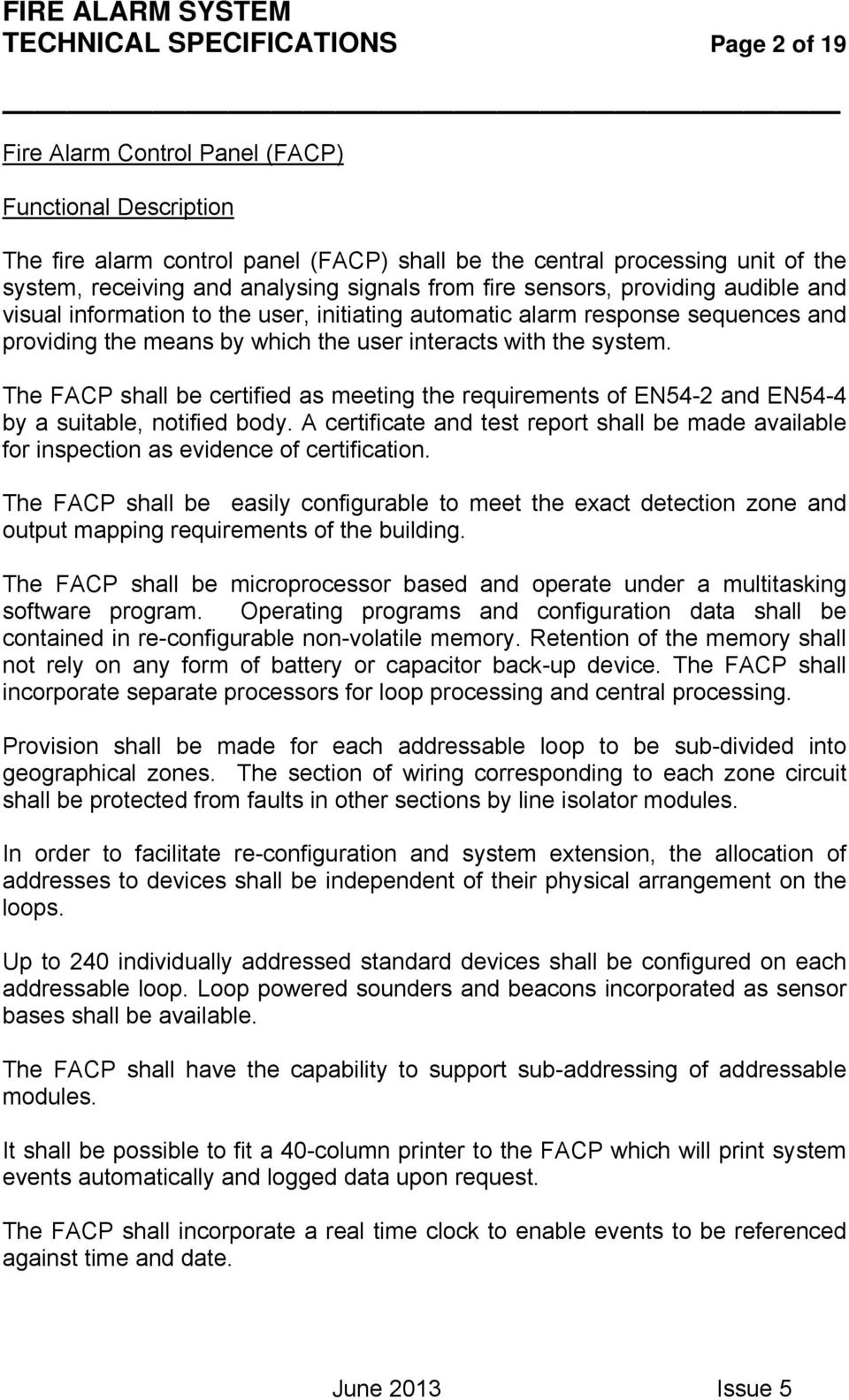 Fire Alarm System Technical Specifications Page 1 Of 19 Pdf Intelligent Schematic Diagram The Facp Shall Be Certified As Meeting Requirements En54 2 And