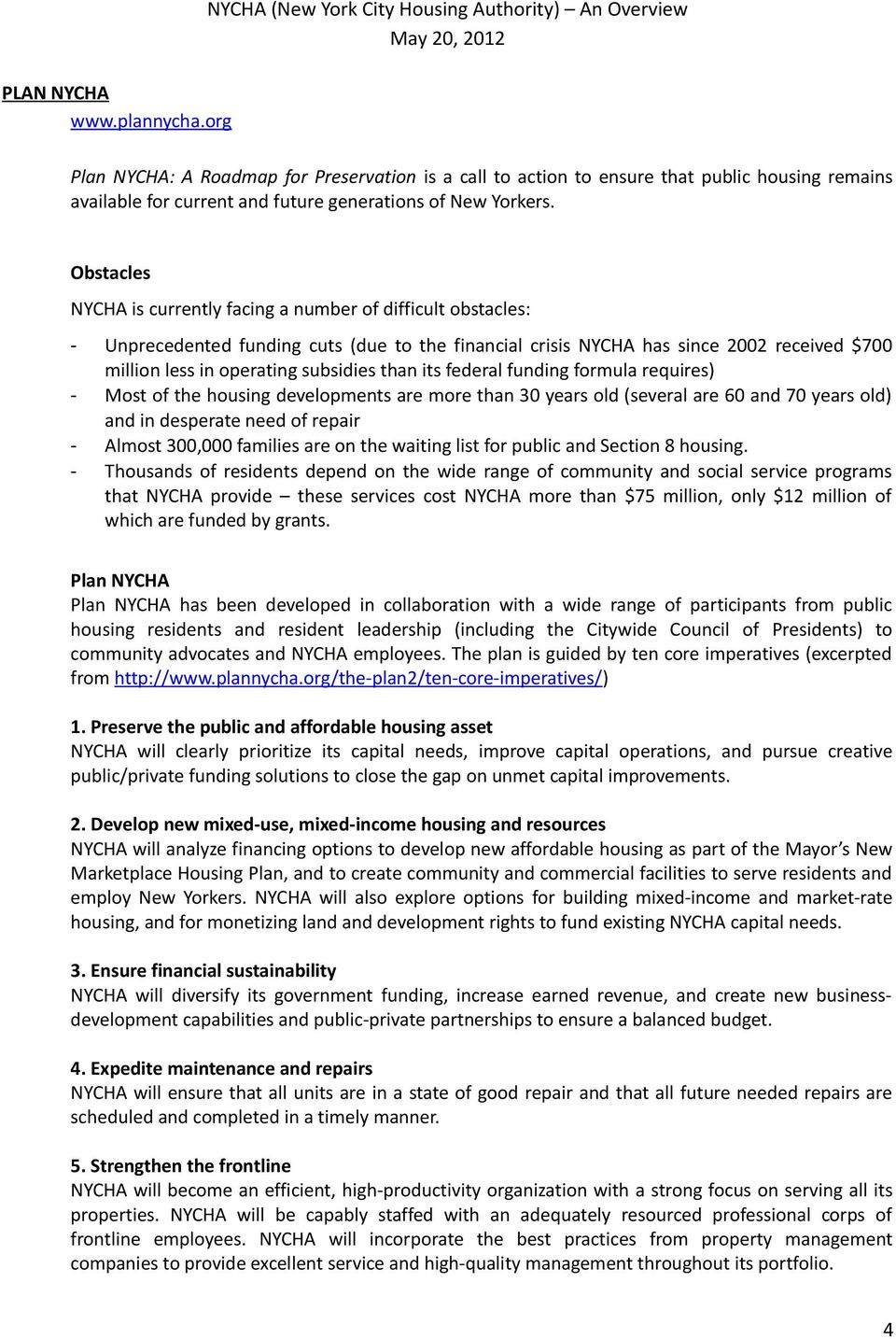 NYCHA (New York City Housing Authority) An Overview May 20, PDF