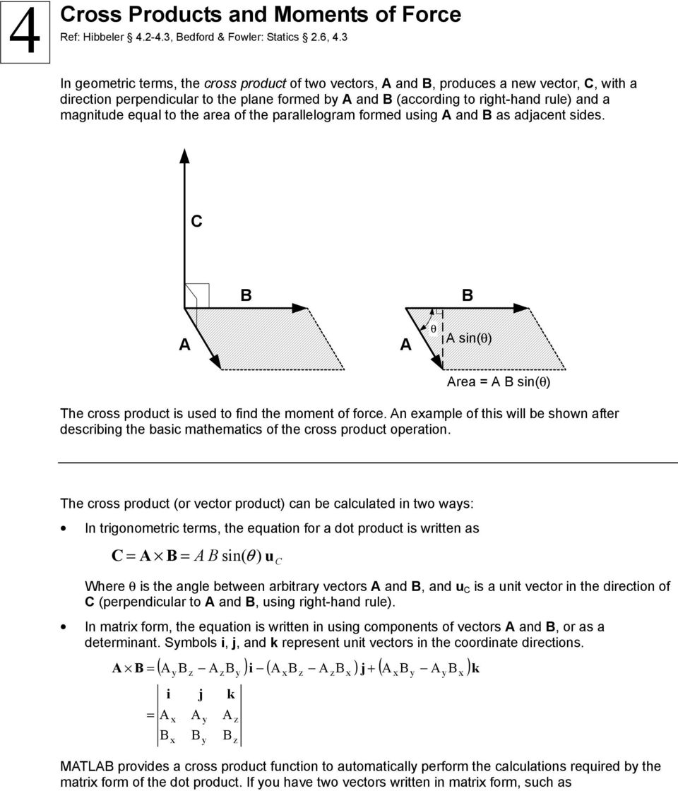 Cross Products and Moments of Force - PDF