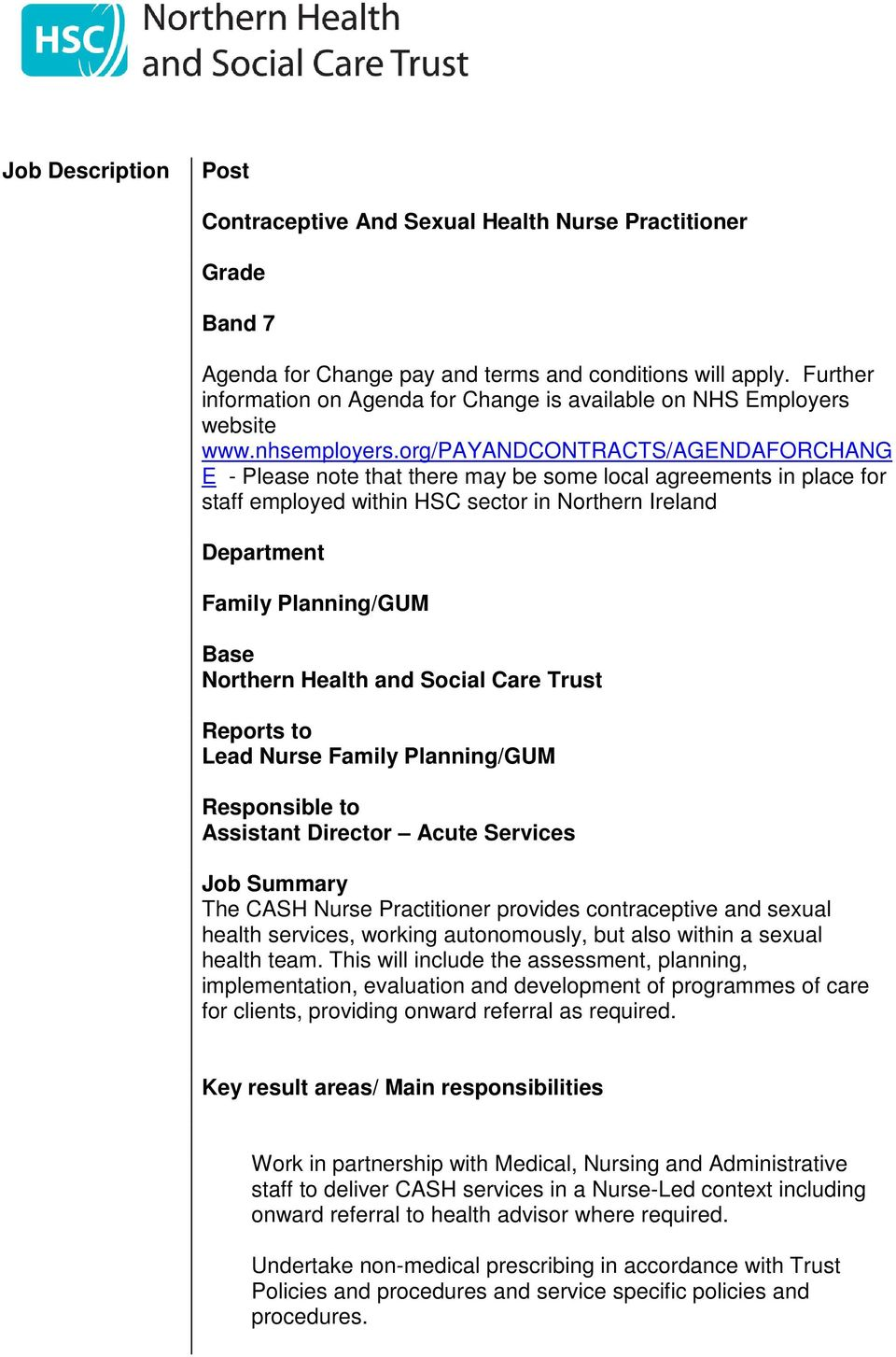 Sexual health nurse descriptions