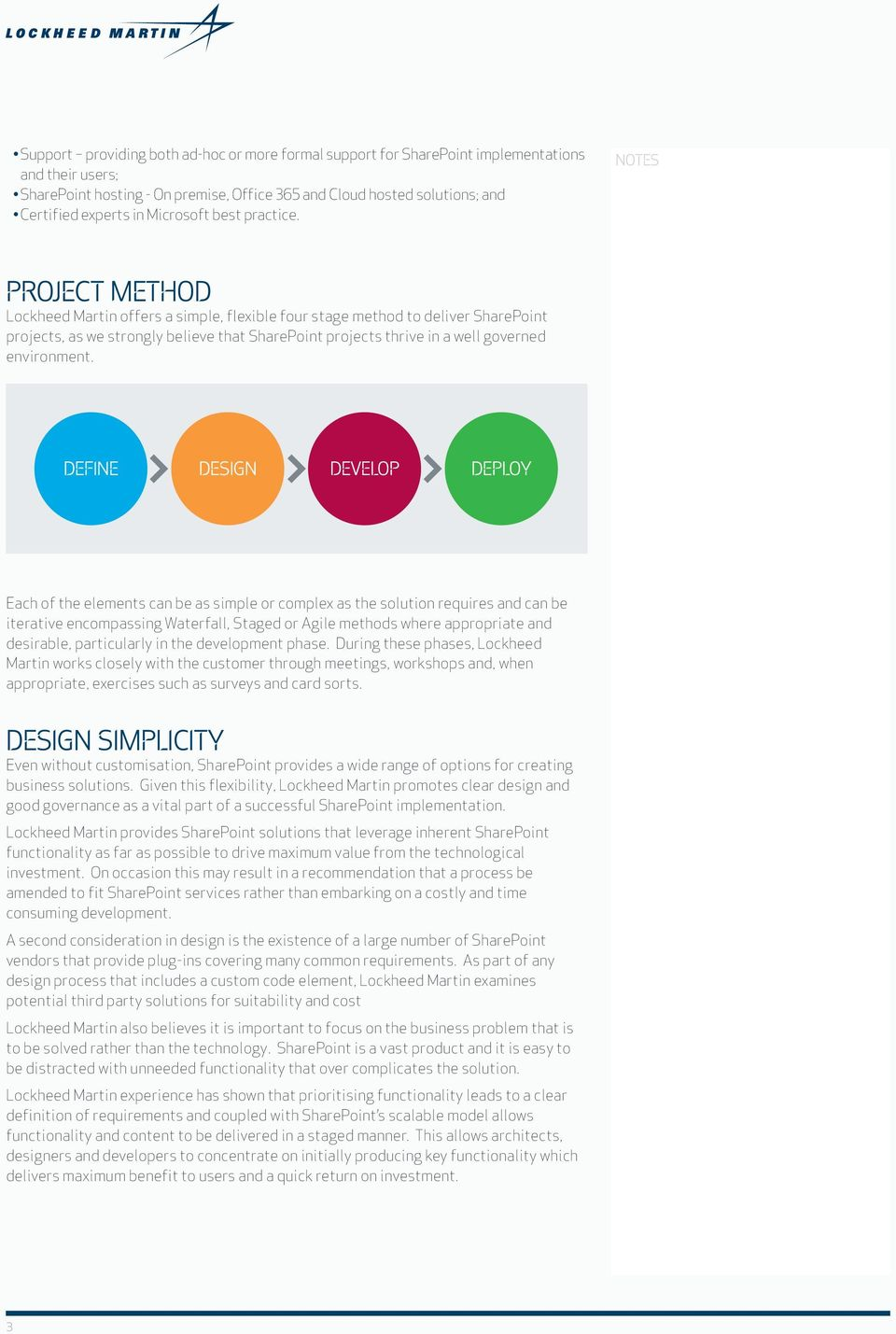 PROJECT METHOD Lockheed Martin offers a simple, flexible four stage method to deliver SharePoint projects, as we strongly believe that SharePoint projects thrive in a well governed environment.
