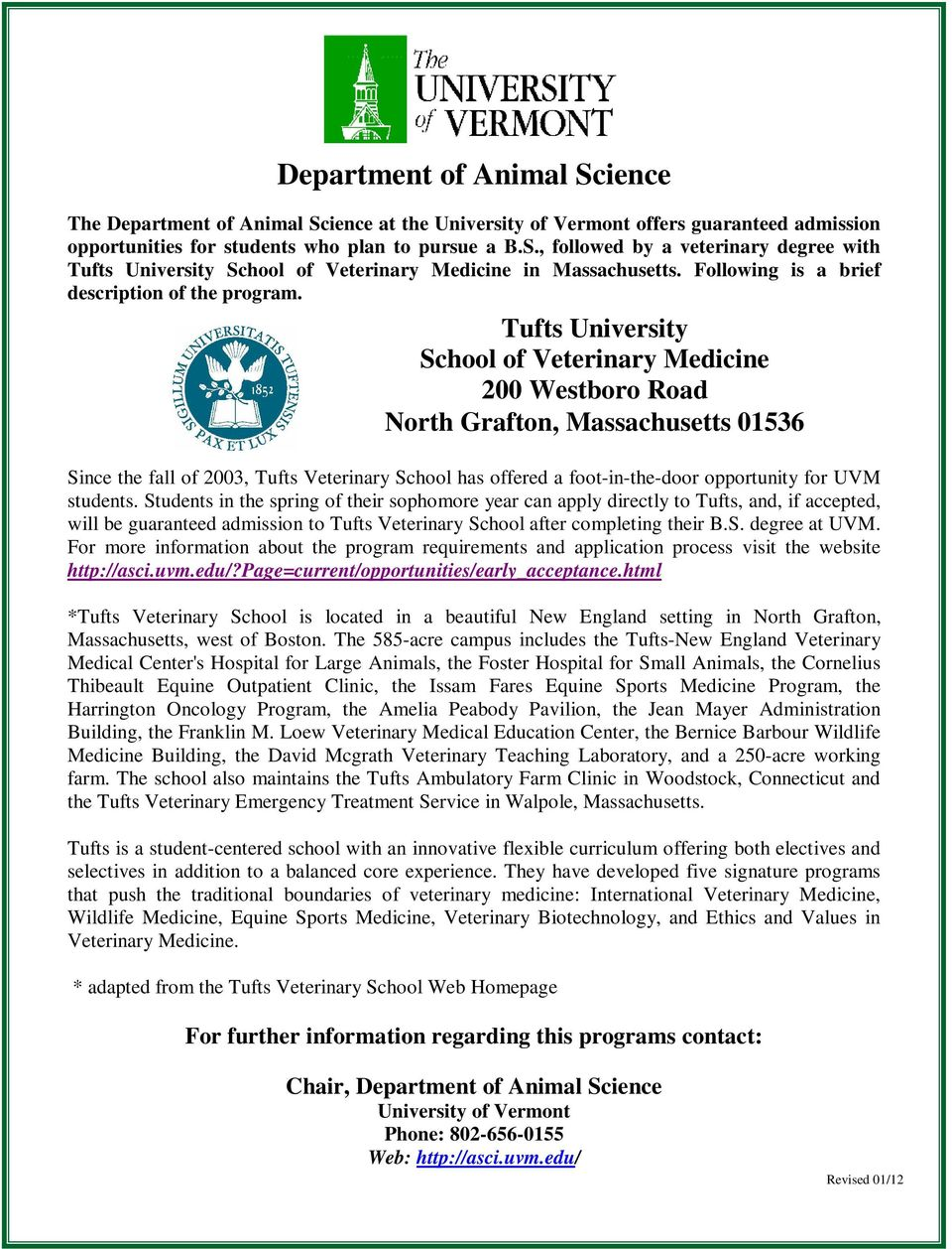 Department of Animal Science  Pre-Veterinary/Pre