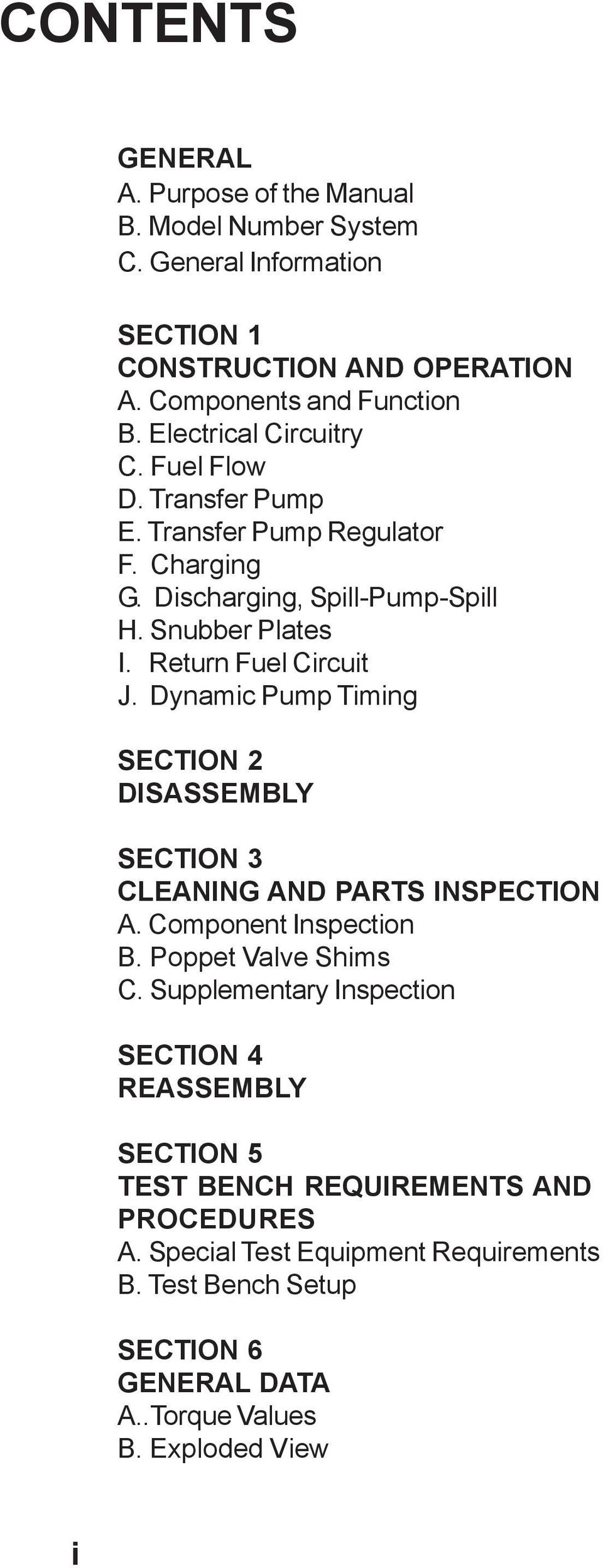 Dynamic Pump Timing SECTION 2 DISASSEMBLY SECTION 3 CLEANING AND PARTS  INSPECTION A. Component Inspection
