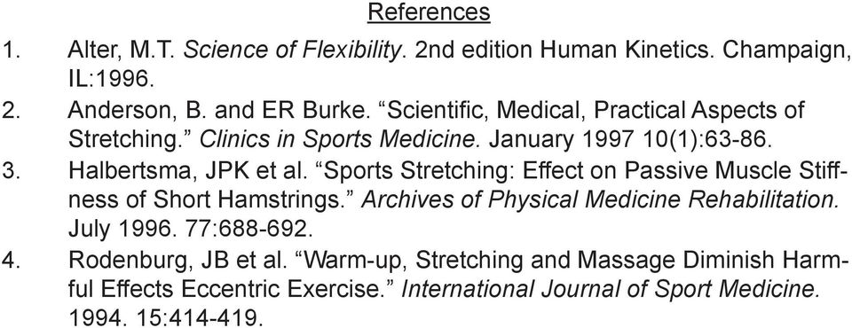 Sports Stretching: Effect on Passive Muscle Stiffness of Short Hamstrings. Archives of Physical Medicine Rehabilitation. July 1996.
