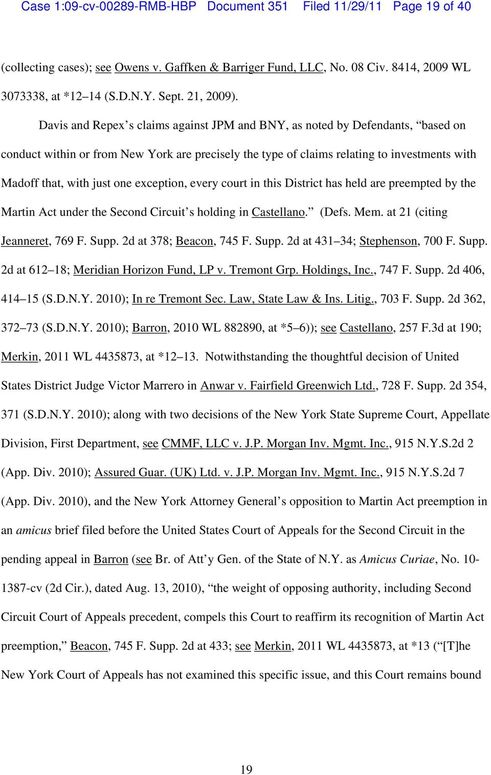 Case 109 Cv Rmb Hbp Document 351 Filed 11 29 Page 1 Of 40 Pdf 2nd Circuit Court Appeals Davis And Repex S Claims Against Jpm Bny As Noted By Defendants Based