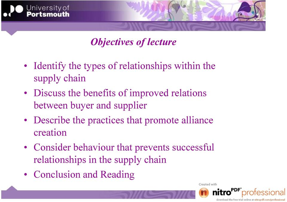 Describe the practices that promote alliance creation Consider behaviour