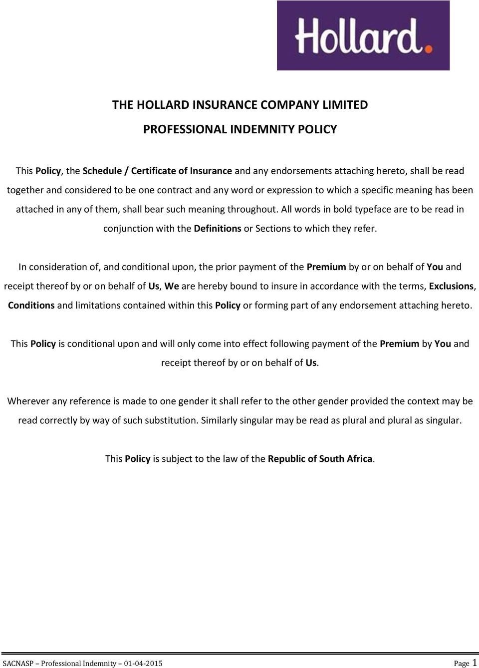 The Hollard Insurance Company Limited Professional Indemnity