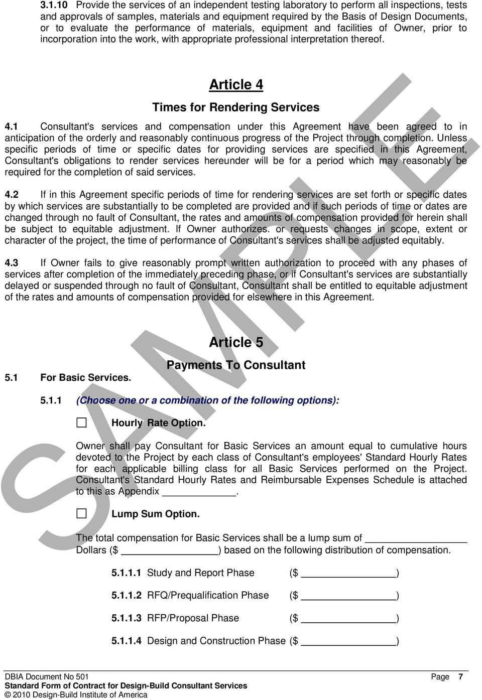 Standard Form Of Contract For Design Build Consultant Services Pdf