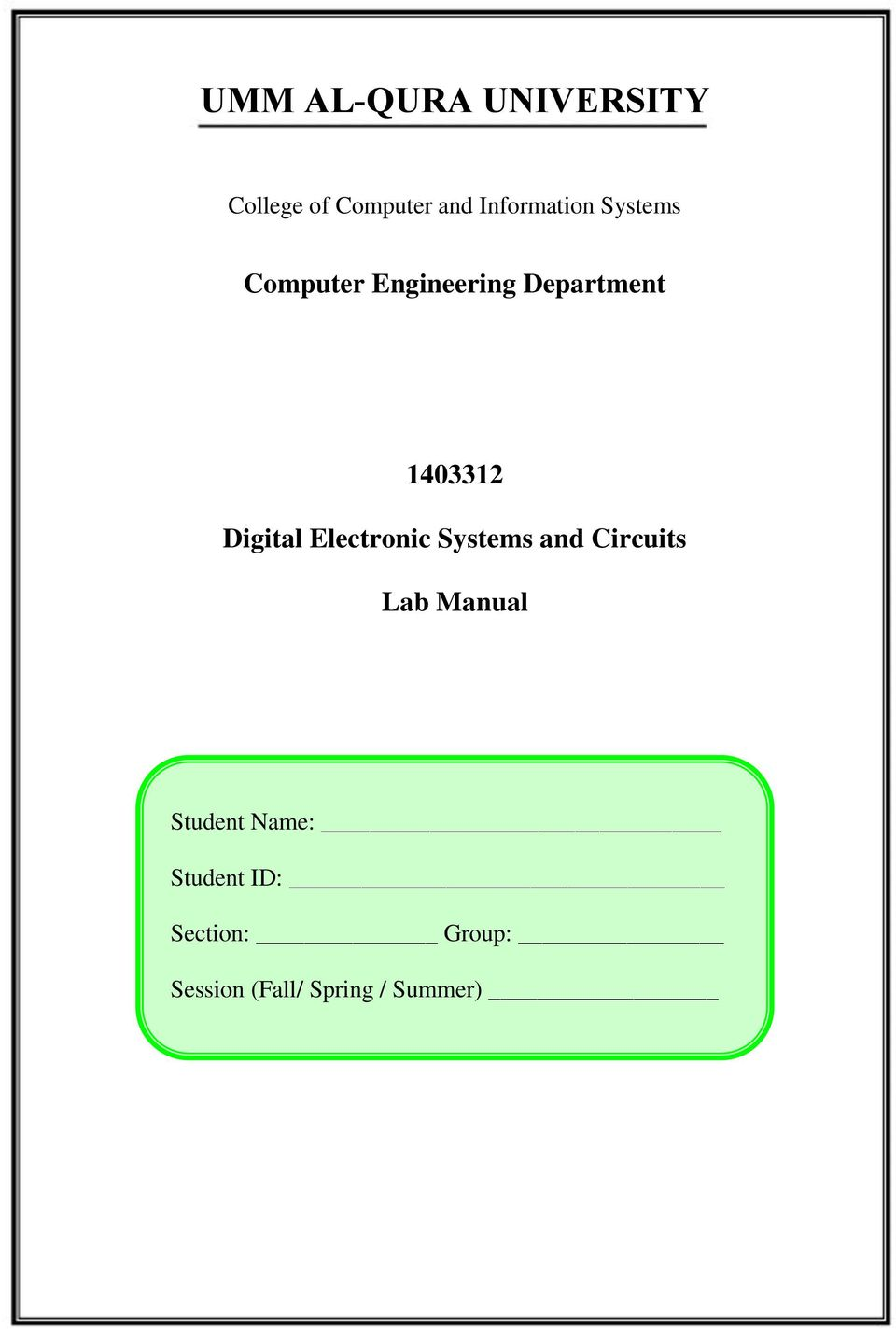 Umm Al Qura University Pdf Electronic Circuit I Lab Manual 1403312 Digital Systems And Circuits