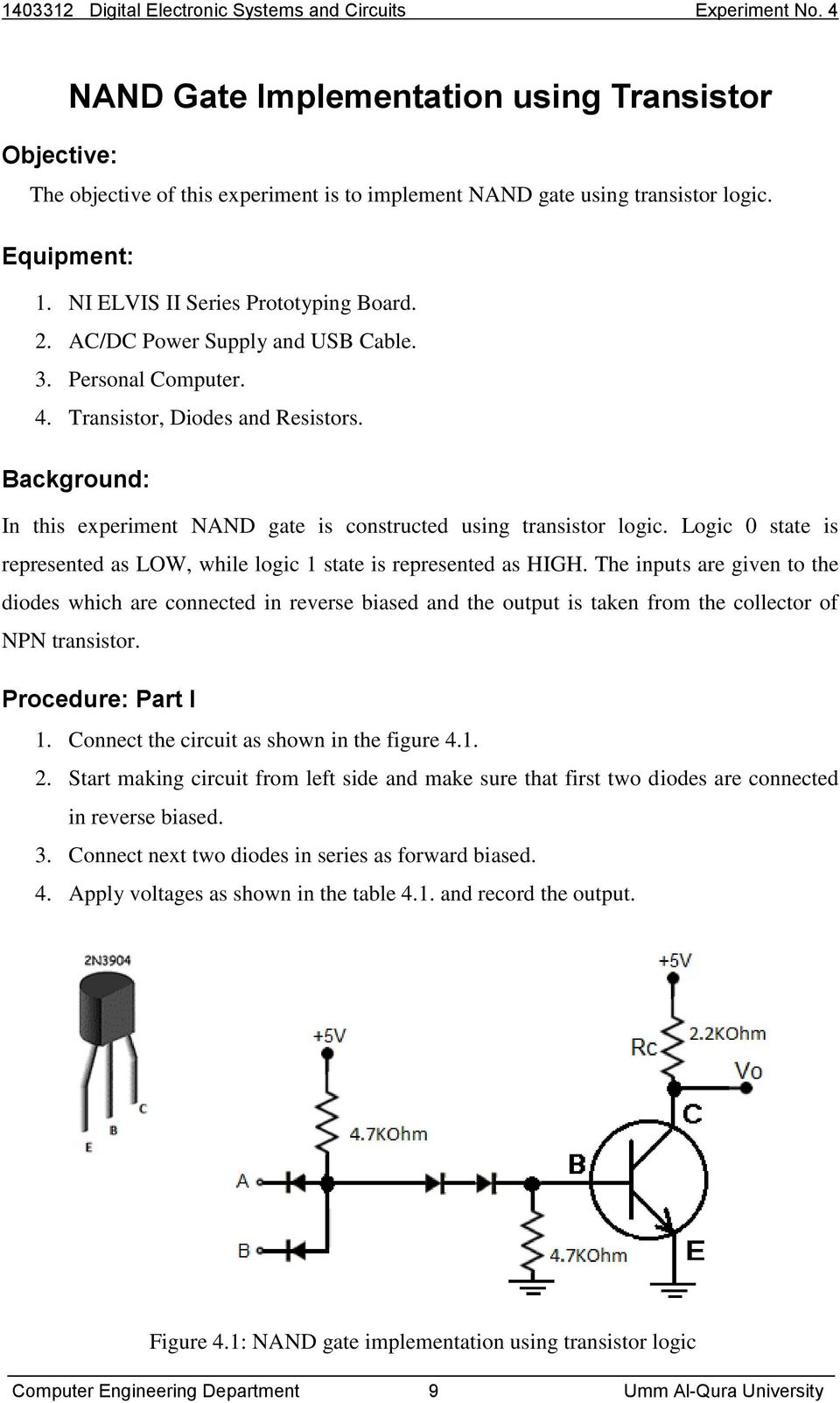 Umm Al Qura University Pdf Diode Logic Circuits Background In This Experiment Nand Gate Is Constructed Using Transistor 0 State