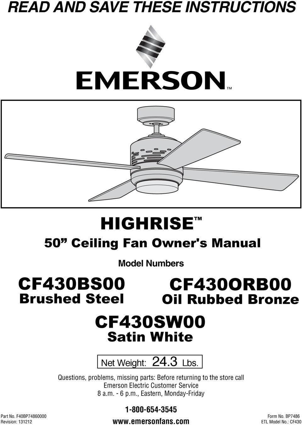 Read And Save These Instructions Highrise 50 Ceiling Fan Owners Thread Wiring A With Switch39s For Light Cf430orb00 Oil Rubbed Bronze Questions Problems Missing Parts Before Returning To The Store